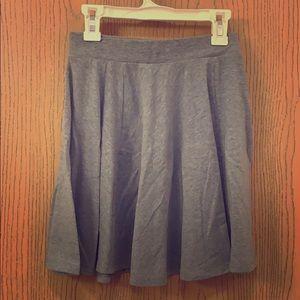 Heather gray cotton high-waisted skater skirt